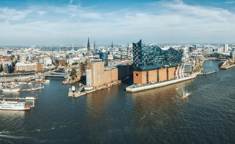 wide panoramic view on Hamburg Hafen City